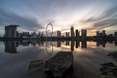 Golden Glow (My Pixel Magic) Tags: marinabay gardenbythebayeast gbtbeast cityscape cityview citylandscape singapore skyline longexposure waterscape water sunset goldenhour goldenglow reflection nikond850 nisifilters
