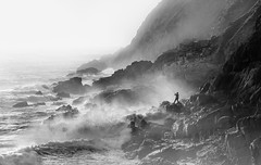 Life on the Edge (Mick Blakey) Tags: porthnanven action backlit black blackwhite challenging cliffs coast coastsurf coastal coastline contrast cornish cornwall danger dark dramatic fishing highlights madness misty monochrome risky rocks rocky roughsea rugged seaspray seascape shadows silhouette stormy surf waves white