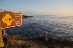 Danger Unstable Cliffs (Photos By Clark) Tags: northamerica california location canon2470 canon5div unitedstates cities sandiego locale places where us sign danger stay back unstable cliffs sea pacific lightroom bluff waves thesandiegoist
