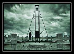 On The Lookout (Fotogravirus) Tags: elburg flevoland flevopolder conceptualart art silhoute fotogravirus darksky sky clouds dark eerie guard lookout bell light tower dynamic