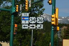 P1010959 (Wampa-One) Tags: colorado rockymountains rockies mountains highwaysigns estespark estesparkco usroute34 usroute36 us34 us36 coloradostatehighway7 7 intersection big elkhornave bigthompsonave