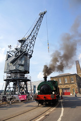 On the Quay (gooey_lewy) Tags: ajax was built by robert stephenson hawthorns ltd delivered new chatham dockyard 040st tram route royal navy steam loco locomotive train goods wagons summer evening photo shoot charter 361 smoke crew crane