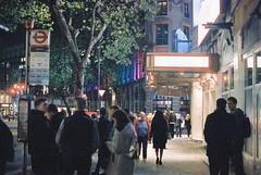 London (goodfella2459) Tags: nikon f4 af nikkor 50mm f14d lens cinestill 800t 35mm c41 film night analog colour london city streets pedestrians people theatre buildings tree manilovefilm light