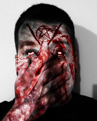 Am I Beautiful Yet? (joeeckroth) Tags: creepy weird strange blood bloody red photoshop edit overlay pentagram scars scarification body modification bodymodification fake canon