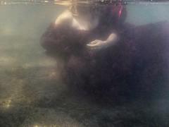 Dear Diary. (Caroleyene) Tags: reddress woman underwater stansburylake utah stansburypark mystery sombre