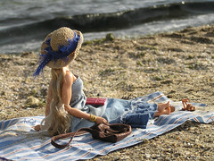 Saga on the seaside (ArtCat80) Tags: barbie barbiecollector collector mattel antiope doll sea seaside summer vacation hat beach waves sewing knitting