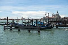 Gondolas and Basilicas (ORIONSM) Tags: venice italy gondolas basilica water boat church blue sky grand canal sony rx100mk3