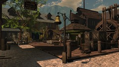 Tales Of Yore (alexandriabrangwin) Tags: alexandriabrangwin secondlife 3d cgi computer graphics virtual world photography ye olde old port tavern water wheel ship wooden deck trading village town square store stalls fish sacks grain