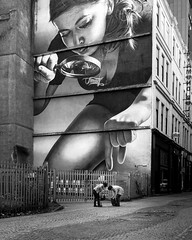Let me help you with that (david.travis) Tags: looking man scotland blackandwhite woman unitedkingdom streetphotography choosing mural urbanphotography city glasgow bw
