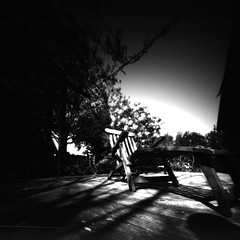 Back in 14 days (Rosenthal Photography) Tags: treu liegestuhl ff120 lochkamera 6x6 realitysosubtle6x6 schwarzweiss anderlingen asa50 familie pinhole rodinal12520°c11min städte garten bw washis50 20180602 analog bnw dörfer siedlungen rss realitysosubtle washi filmwashi washis garden chair sun sunny summer juni rodinal blackandwhite contrast 125 epson v800