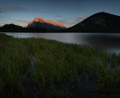 Mount Rundle illuminated at sunset over the Vermillion Lakes, Banff, Alberta Canada (headshatter) Tags: fineartphotography leefilters slowshutter landscapephotography canadianrockies vermillionlakes albertacanada mountrundle banff