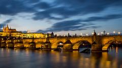 Charles Bridge and Prague Castle (HansPermana) Tags: prague prag praha city cityscape czech czechrepublic tschechien eu europe europa vltava river charlesbridge praguecastle longexposure bluehour reflection bridge karlůvmost lights
