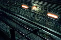 (fritz london) Tags: pentaxk1000 cinestill800t 35mm color tungsten film night paris france traintracks smcpentaxm50mmf17
