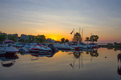 Daybreak at Barrie marina (wessexman...(Mike)) Tags: infocus highquality barrie ontario marina reflection