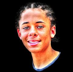 Thanks Universe ... and Zachery ..... (daystar297) Tags: streetportrait portrait teen teenager black africanamerican boy beautiful face smile freckles people closeup nikon fortpierceflorida cornrows braids hair