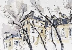 Place de Furstemberg, Paris (alexhillkurtzart) Tags: watercolor sketch urbansketch paris