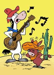 QuickDraw McGraw singing (artistles77) Tags: cartoon postcard drawing comic quickdraw mcgraw hanna barbera