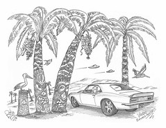 Voodoo Banana Monkeys (rod1691) Tags: myart art sketchbook bw scfi grey concept custom car retro space hotrod drawing pencil h2 hb original story fantasy funny tale automotive illustration greyscale moonpies sketch sexy voodoo