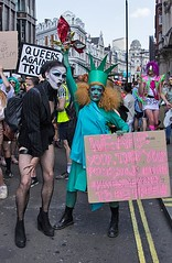 Queers Against Trump, London 13 July 2018 (chrisjohnbeckett) Tags: queer gay trump protest rally demonstration london londonist timeout portrait street urban politics placard message pink liberty freedom statueofliberty piccadillycircus writing text global photojournalism canonef24105mmf4lisusm