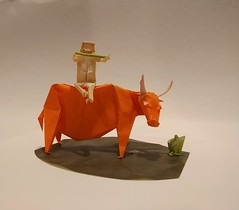 Water Buffalo (Sasha CraftSpace) Tags: origami sashacraftspace nguyenhungcuong waterbuffalo animal boy rider flute