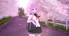 After School Walk (Momoka SL) Tags: secondlife asr aeon kemono anime school uniform seifuku sakura tree outdoors kawaii cute