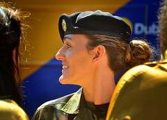 Soldier (Owen J Fitzpatrick) Tags: ojf people photography nikon fitzpatrick owen pretty pavement chasing d3100 ireland editorial use only ojfitzpatrick dublin republic city tamron candid joe candidphotography candidphoto unposed natural attractive beauty beautiful woman female lady j face hair along photoshoot street 2018 streetphoto pride st saint stephens green south parade assembly area colour colourful profile beret army personnel defence forces visage smile hat badge camo uniform camouflage tunic bun soldier