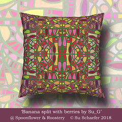 'Banana split with berries by Su_G': pillow mockup (Su_G) Tags: 2018 bananasplitwithberriesbysug sug spoonflower roostery cushions cushion softfurnishing softfurnishings decor homedecor homefurnishing homefurnishings multicolored multidirectional tiled mirrored aftergaudi aftergaudianmosaics mosaic aerial fruitsaladcolours fruitsaladcolors modernist fruit food edible berries handpainted bananasplit artdeco pillow pillows mockup
