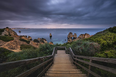 Stairs to happiness (Sizun Eye) Tags: night dusk twilight bleuhour stairs cliffs coast costline lagos praiadocamilo camilobeach algarve portugal beach nightfall longexposure le poselongue nikond750 nikon1424mmf28 nikkor