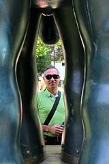 caught between the legs (daniel.virella) Tags: elcaballo santiagodechile chile park horse botero sculpture fernandobotero me eu daniel green byzé picmonkey