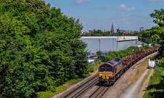 From Welford Road (Peter Leigh50) Tags: fujifilm fuji xt2 railway railroad rail train trees track town sky skyline van leicester locomotive class 66 shed ews db cargo