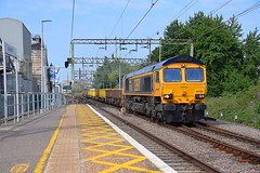 GBRf 66706 top n tail with 66742, heads an infrastructure train, 6T60, 01.10 from Dagenham East - Whitemoor Yard, seen at Harlow Mill, running bang on time and at speed. 08 07 2018 (pnb511) Tags: train diesel loco locomotive track station harlowmill overhead electrics platform westangliamainline urban builtupareacommuterrailwaylineessexclass 66 network rail