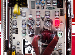 Pump That Water - Gauges,Levers & Hoses Ohh My! (Orbmiser) Tags: olympus40150mmf4056r 43rds em1 mirrorless omd olympus ore oregon portland firetruck gauges levers pumping hoses firefighting