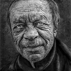 Gritty BW portrait (Ales Dusa) Tags: man bw gritty face oldwrinkledman wrinkles strongcontrast closeupportrait people streetshot streetportrait homeless outdoor monochrome blackandwhiteportrait alesdusa human humanity expressiveface
