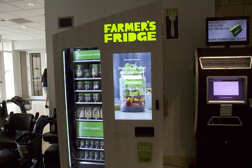 Off the show floor attendees could get fresh salad thanks to a vending machine from Farmer's Fridge.