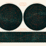 Constellations of the Two Hemispheres (1877) from the book by Guillemin, Amédée, (1826-1893), a celestial chart of the two hemispheres in the night sky. Digitally enhanced from our own original chromolithograph. thumbnail