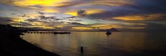Sunset at Vunapope, East New Britain (Lukim) Tags: sunset sea sky boat water ocean volcano bay tropical clouds cloudformations nofilter cheapcamera vunapope eastnewbritain rabaul kokopo enb png papuanewguinea wharf jetty