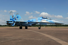 Sukhoi Su-27UB1M Flanker 71 Blue (MichaelHind) Tags: ukrainian air force vvs ukraineвоенновоздушные силы украины bbcу 831st tactical aviation brigade 831 brta myrhorod ab riat 2017 raf fairford sukhoi su27ub flanker 71 blue royalinternationalairtattoo airshow fri friat