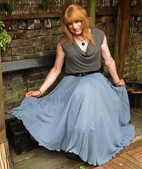 Spreading Pleats (Amber :-)) Tags: long grey sunray pleated skirt tgirl transvestite crossdressing