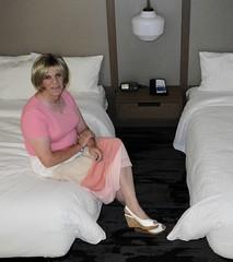 Shades of Pink (krislagreen) Tags: tg tgirl transgender transvestite cd crossdress skirt wedgies patent blond pink barelegs femme feminized feminization