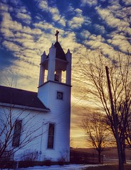 to him be the glory....(HSS) (BillsExplorations) Tags: church sunset dusk evening salemevangelicalchurch loran illinois small countrychurch sliderssunday slide hss tree holy glory religion faith cross belltower
