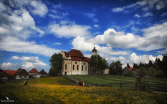 Pilgrimage Church of Wies (pbmultimedia5) Tags: unesco bavaria church rococo pilgrimage wieskirche germany alps countryside pbmultimedia blue sky horses meadow