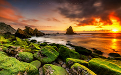 Four elements (marcolemos71) Tags: seascape sea water waves portuguesecoast atlanticocean sky sunset fire air clouds land rocks stones seagrass longexposure leefilters adraga beach sintra marcolemos