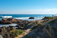 Rye coastline (Marian Pollock) Tags: australia victoria rye ocean water surf waves shoreline sunny coast shallows sand grass froth man silhouette