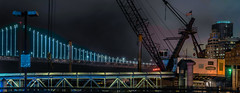 engineering construction co. (pbo31) Tags: bayarea california nikon d810 color july summer 2018 boury pbo31 sanfrancisco city urban night dark black construction crane bridge baybridge 80 pier ferry ferrybuilding embarcadero panoramic large stitched panorama power