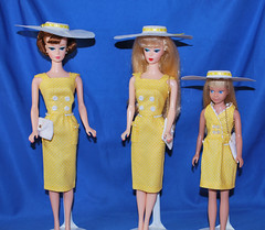Summer Sheaths (toomanypictures1) Tags: yellow polka dots skipper barbie vintage reproduction red sensation sheath hats ooakclothes