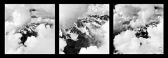 Triptych clouds and mountains (SLpixeLS) Tags: blackandwhite chamonix aiguilledumidi cloud france art artistic artphotography snow ice sky mountain triptych