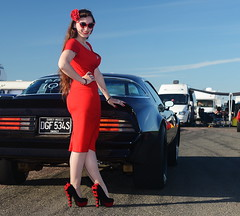 Holly_9150 (Fast an' Bulbous) Tags: pontiac transam american muscle car vehicle automobile girl woman hot sexy wife people outdoor pinup model red wihhle dress stockings high heels long brunette hair