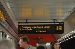 Cockfosters via Central London (afagen) Tags: london england uk unitedkingdom greatbritain londonunderground underground tube thetube subway transit heathrowairport londonheathrow lhr airport sign