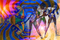 Supervivencia (seguicollar) Tags: imagencreativa photomanipulación art arte artecreativo artedigital virginiaseguí indígenas aborígenes desierto ´desertificación amarillo hombres piernas patrones texturas