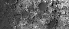 Clays in Eridania Basin (sjrankin) Tags: 10july2018 edited nasa mars mro marsreconnaissanceorbiter eridaniabasin esp0553921510 grayscale clay craters